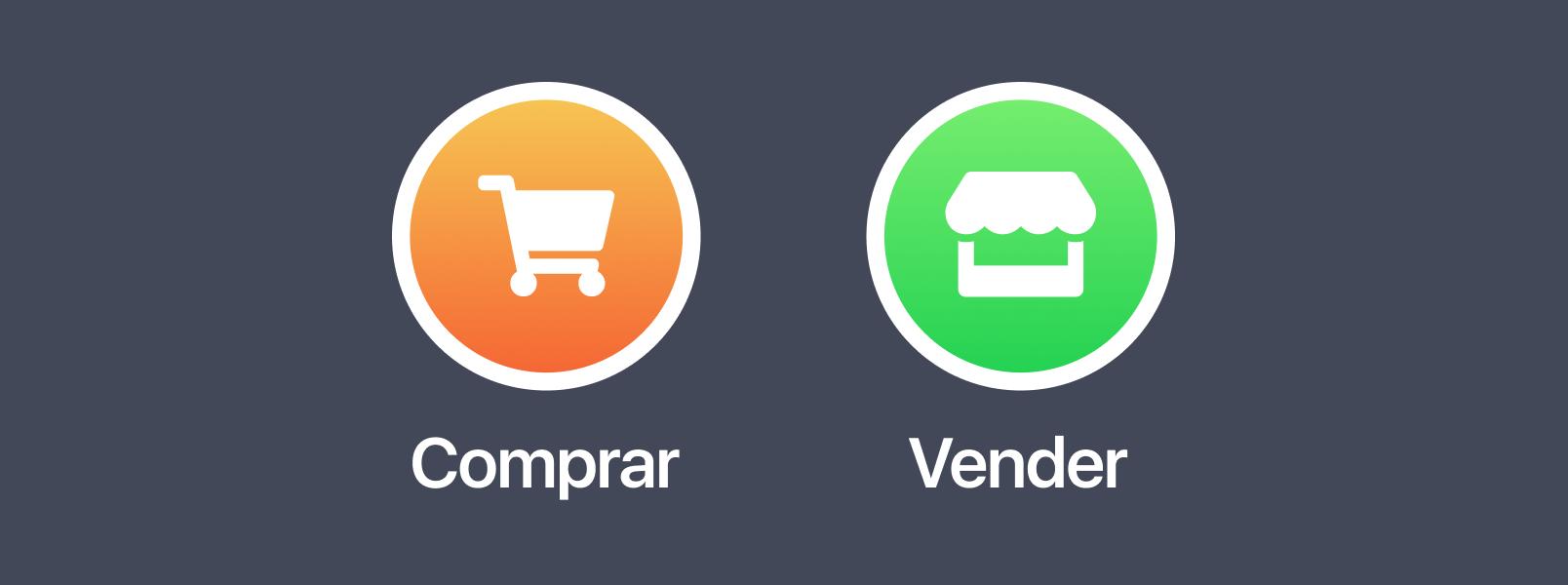 """Elige """"Comprar"""" para avisar de lo que necesitas o buscas, y """"Vender"""" para publicar lo que quieras vender."""