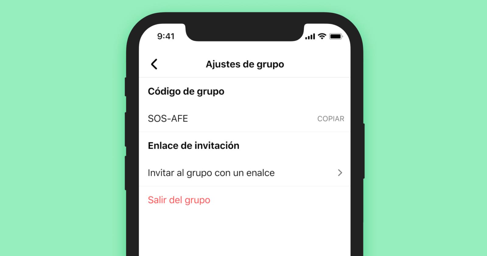 Comparte el código del grupo para que otros puedan unirse al grupo.