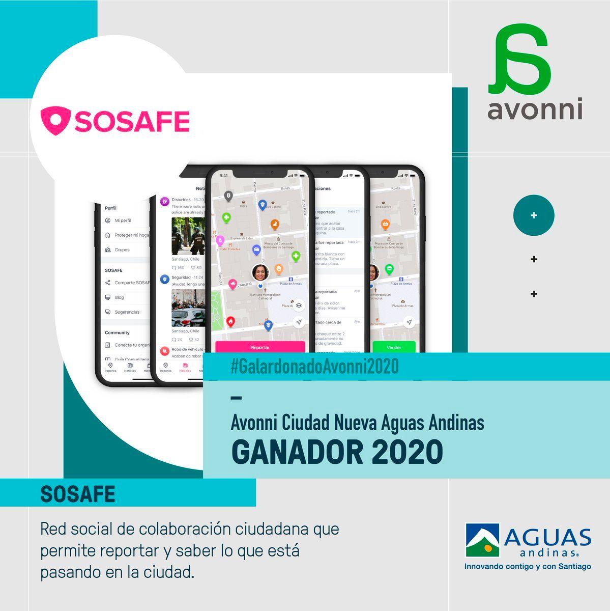 SOSAFE ganó el premio Avonni 2020 en la categoría de Ciudad Nueva de Aguas Andinas.