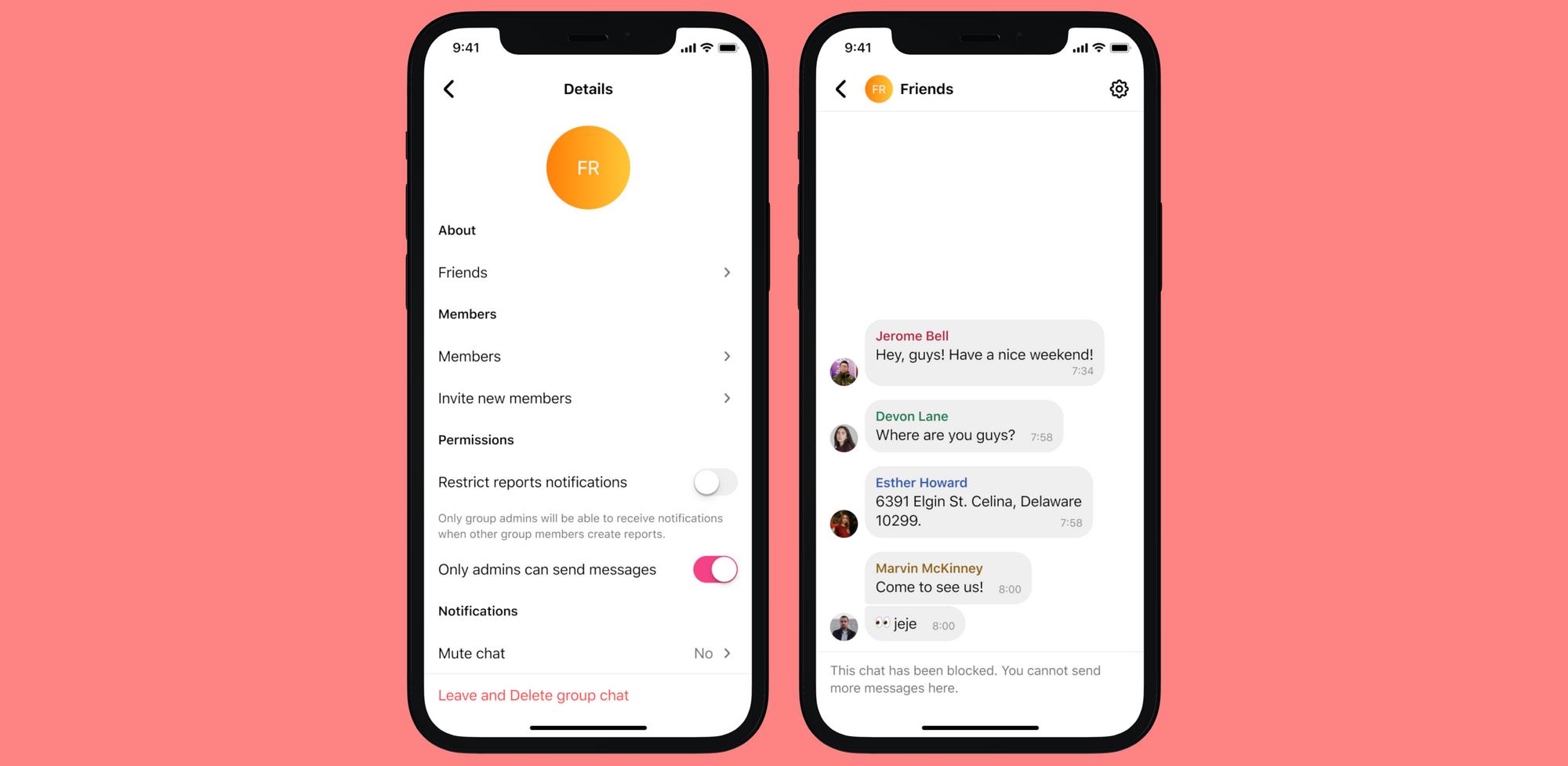 Los administradores de un chat grupal pueden restringir el envío de mensajes y ser los únicos que reciben notificaciones de reportes de los demás miembros.